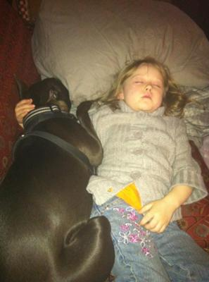 Chassis napping with her kid